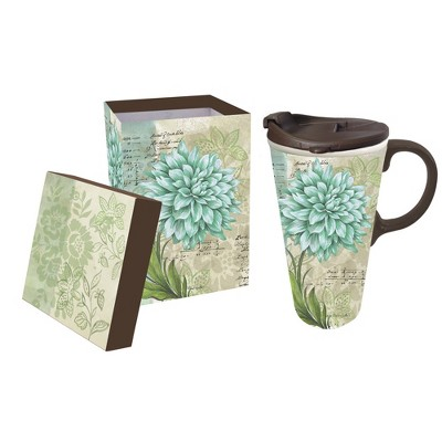 Cypress Home Turquoise Dahlia, Ceramic Perfect Cup, 17 Oz.