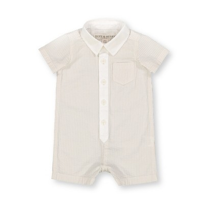 Hope & Henry Layette Baby Boy Woven Short Sleeve Romper with Collar and Button Front, Infant