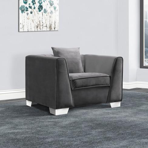 Armen Living Cambridge Contemporary Sofa Chair Velvet Dark Gray : Target