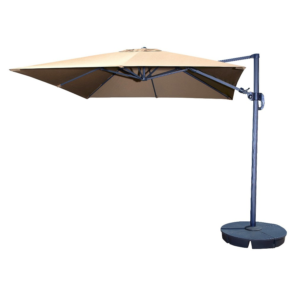 Island Umbrella Santorini II 10' Square Cantilever Umbrella in Beige Sunbrella