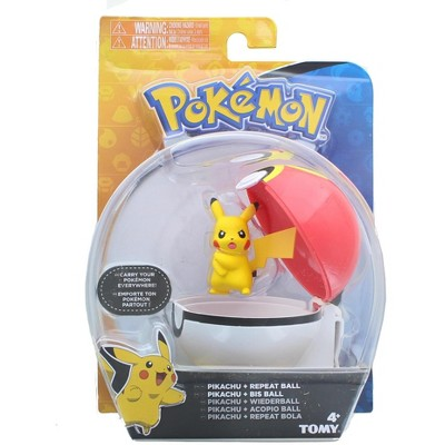 Tomy Pokemon Clip and Carry Poke Ball | 2 Inch Pikachu and Repeater Ball