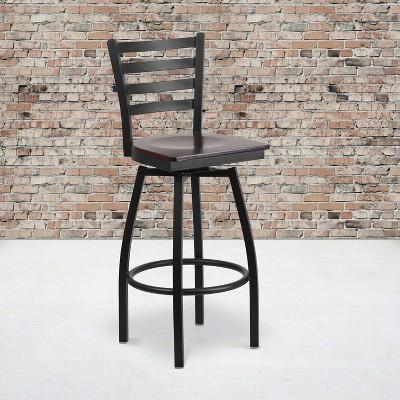 Flash Furniture Black Ladder Back Swivel Metal Barstool