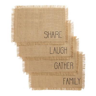 "Farmhouse Living Sentiments Burlap Placemats, Set of 4 - 13"" x 19"" - Natural - Elrene Home Fashions"