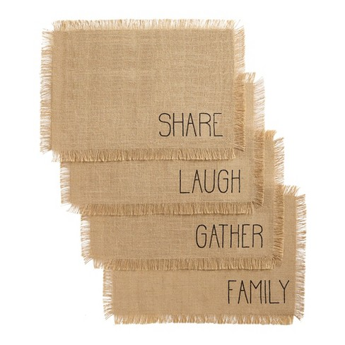 Farmhouse Living Sentiments Burlap Placemats Set Of 4 13 X 19 Natural Elrene Home Fashions Target