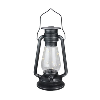 "Northlight 12"" Silver Brushed Black Traditional Lantern with Micro Lights"