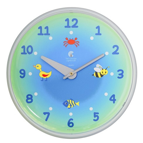 """Chicago Lighthouse 12.75""""x1.5"""" Green Planet Children's Wall Clock Decorative Wall Clocks White - image 1 of 2"""
