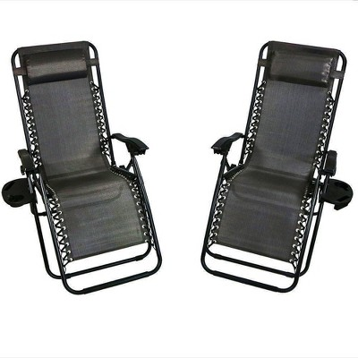 Zero Gravity Lounge Chair with Pillow and Cup Holder - Set of 2 - Charcoal - Sunnydaze Decor
