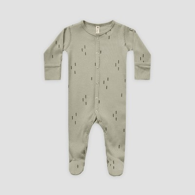 Q by Quincy Mae Baby Trees Brushed Jersey Footed Pajama with Handcuffs - Sage Green 0-3M
