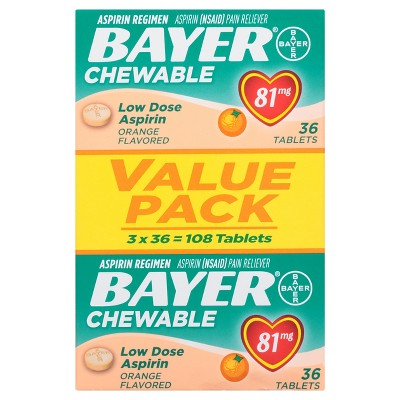 Pain Relievers: Bayer Chewable