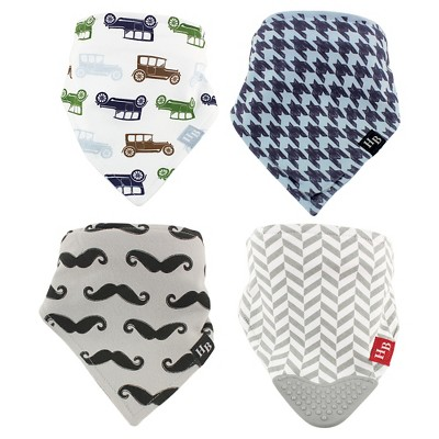 Hudson Baby Newborn Boys' 4 Pack Bandana Bibs - Cars/Mustache