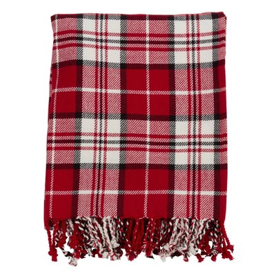 "50""x60"" Plaid Cotton Throw - SARO"