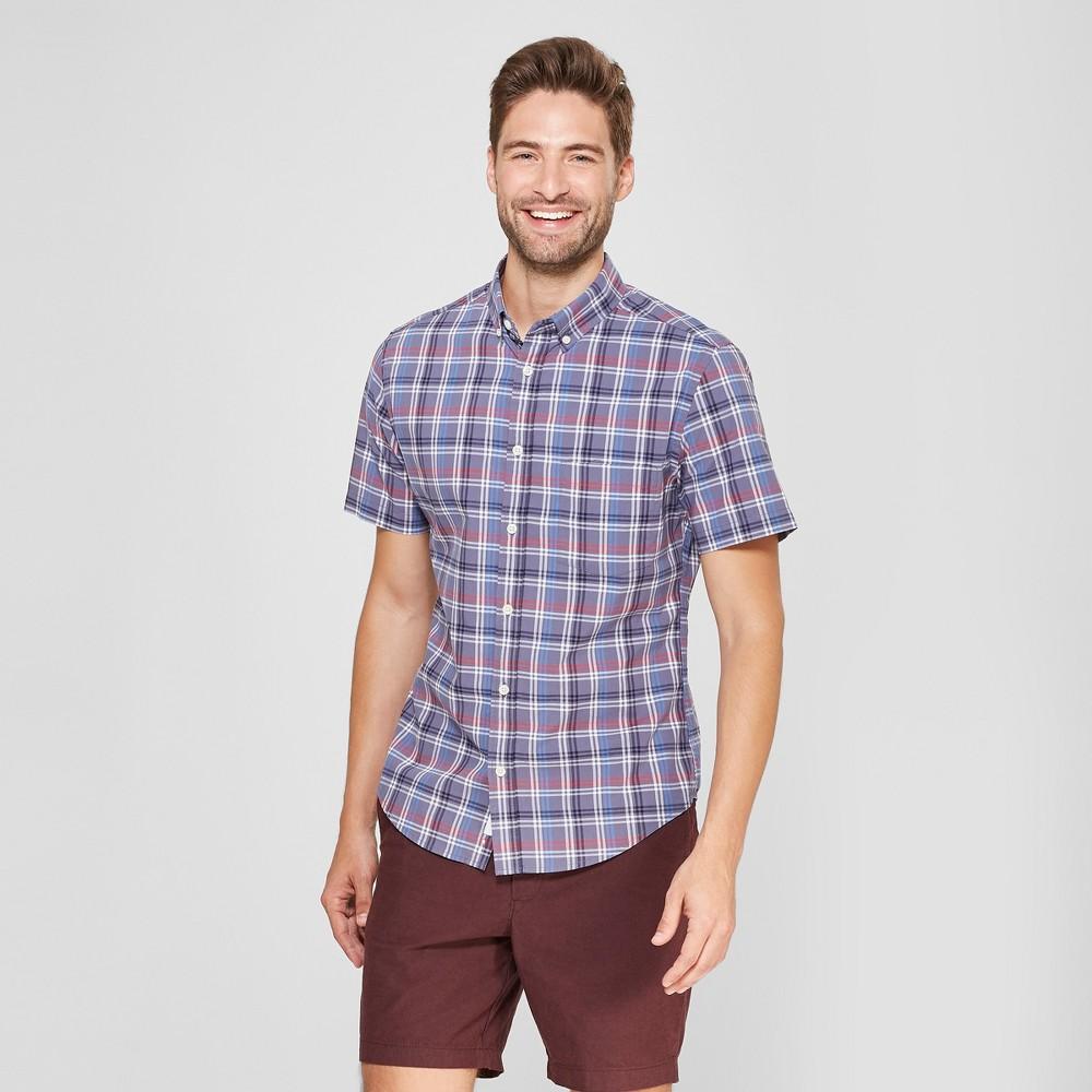 Men's Plaid Slim Fit Short Sleeve Soft Wash Button-Down Shirt - Goodfellow & Co Blue Dusk 2XL