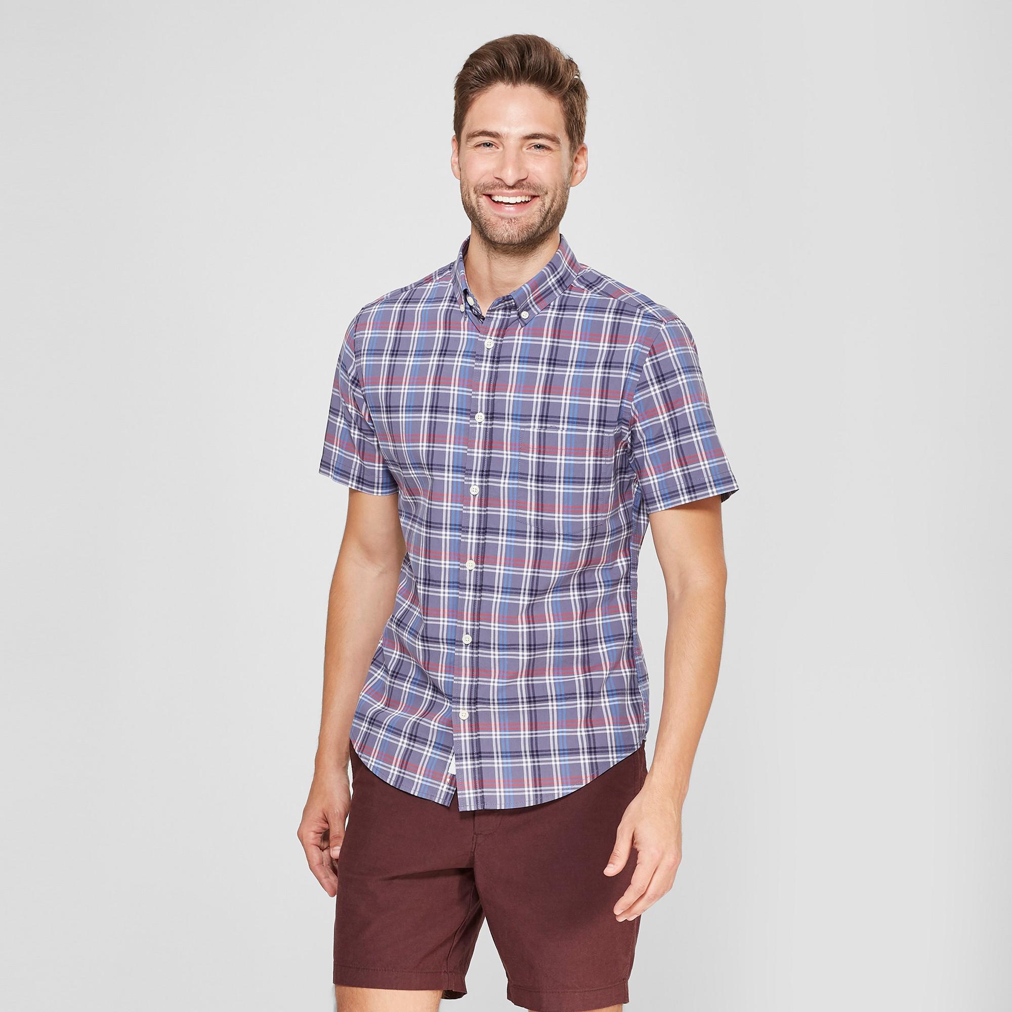 Men's Plaid Slim Fit Short Sleeve Soft Wash Button-Down Shirt - Goodfellow & Co Blue Dusk L