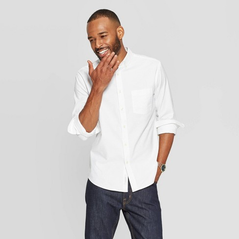 Men's Standard Fit Stretch Oxford Long Sleeve Whittier Button-Down Shirt - Goodfellow & Co™ - image 1 of 3