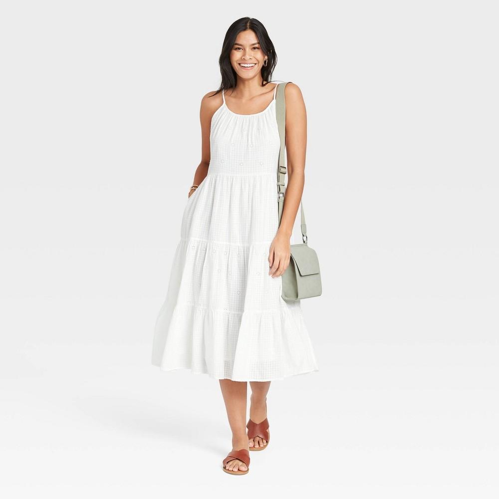 Women 39 S Sleeveless Tiered Dress Universal Thread 8482 White Xxl