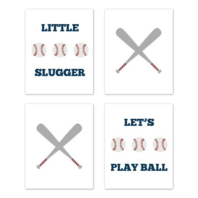 4pc Baseball Patch Art Print Set - Sweet Jojo Designs