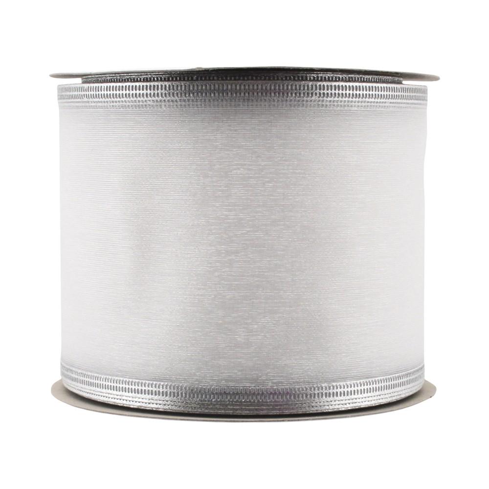 3 White Sheer with Silver Edge Ribbon - Wondershop