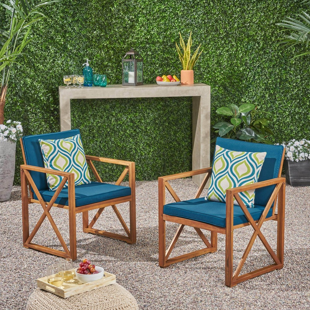 Andora 2pk Acacia Wood Club Chairs - Brown/Dark Teal - Christopher Knight Home