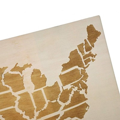 Bright Creations Wood Travel Map for Wall Decor with 100 Push Pins, 16.5 x 11.5 in