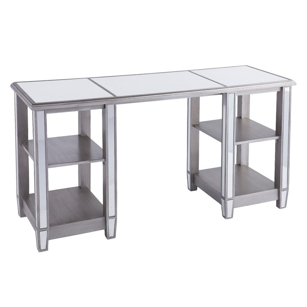 Warakin Mirrored Desk Brushed Matte Silver With Mirror - Aiden Lane