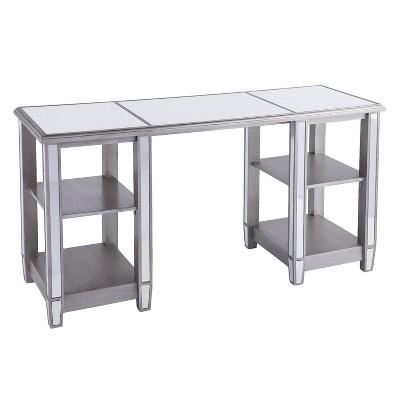 Warakin Mirrored Desk Brushed Matte Silver With Mirror   Aiden Lane