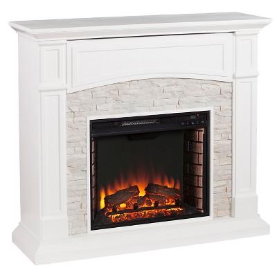 Southern Enterprises Decorative Fireplace Crisp White with rustic White faux stone