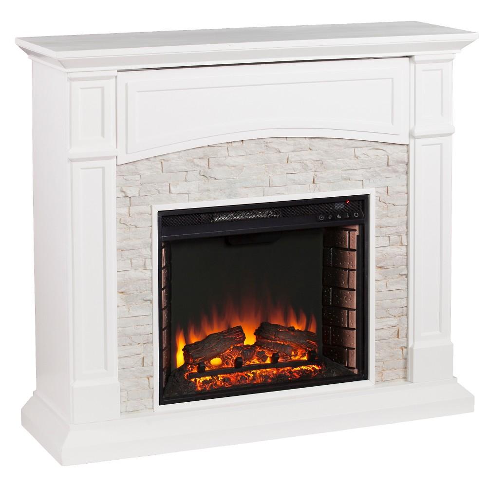Southern Enterprises - Decorative Fireplace - Crisp White with rustic White faux stone