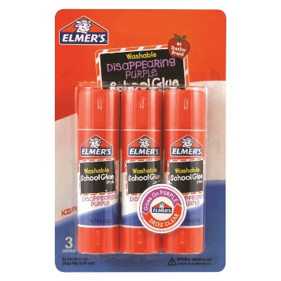 Elmer's 3ct Washable Glue Sticks Disappearing Purple