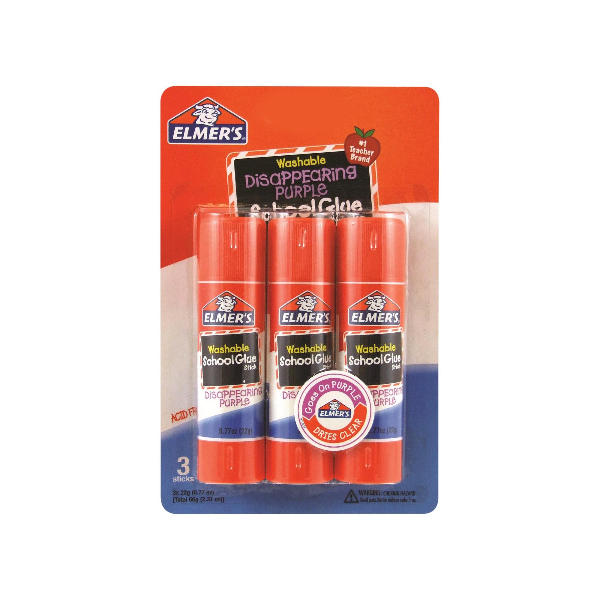 Elmer's Washable Glue Sticks Disappearing Purple - 3ct, White