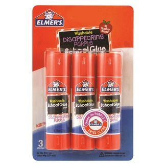 Elmer's 3ct Washable Glue Sticks Disappearing Purple