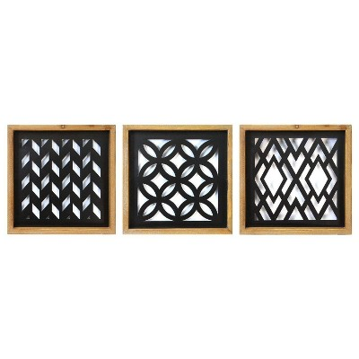(Set of 3)Modern Wood and Metal Laser Cut Wall Décor Natural/Black - Stratton Home Décor