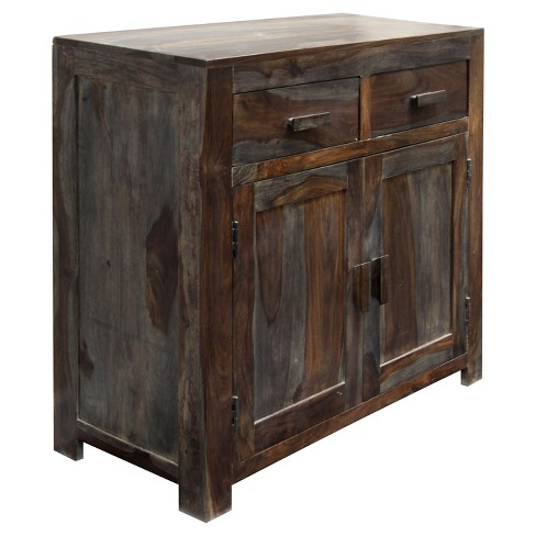 Solid Sheesham Wood Two Door Storage Cabinet With Two Drawers And