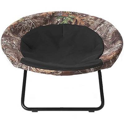 K&H Pet Products Large Sized Pet Elevated Dish Chair Cozy Comfy Furniture Cot Cat & Dog Bed with Machine Washable Cover, Realtree Edge Camo and Black