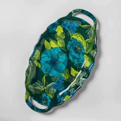 Oval Melamine Serving Tray with Handles Floral 11  x 20  Blue/Green - Opalhouse™