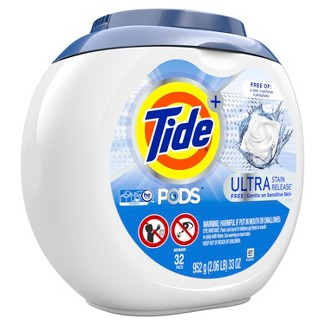 Tide PODS Laundry Detergent Pacs Ultra Stain Release Free - 32ct