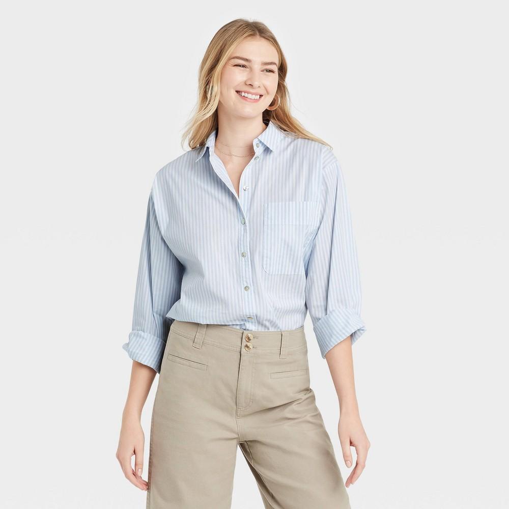 Women 39 S Striped Long Sleeve Button Down Boyfriend Shirt A New Day 8482 Blue Xs