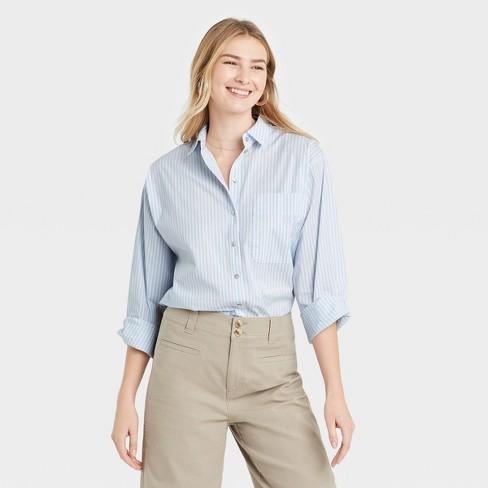 Women's Long Sleeve Button-Down Boyfriend Shirt - A New Day™ - image 1 of 3