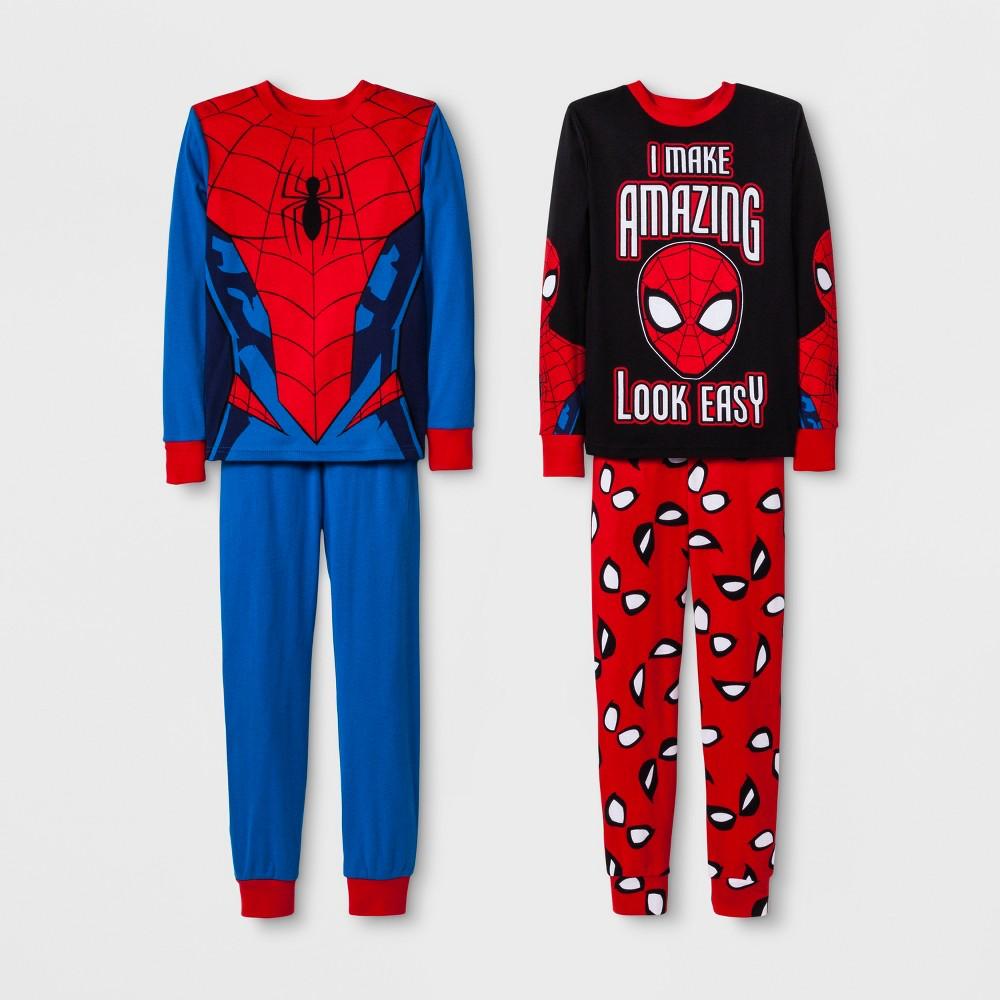 Boys' Spider-Man 4pc Pajama Set - Black/Red/Blue 6