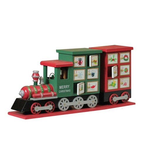 "Northlight 16.5"" Red and Green Locomotive Train Advent Calendar Christmas Tabletop Decor - image 1 of 3"