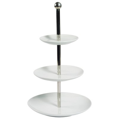 Denmark Tools for Cooks 3-Tiered Porcelain Round Serving Tray - White