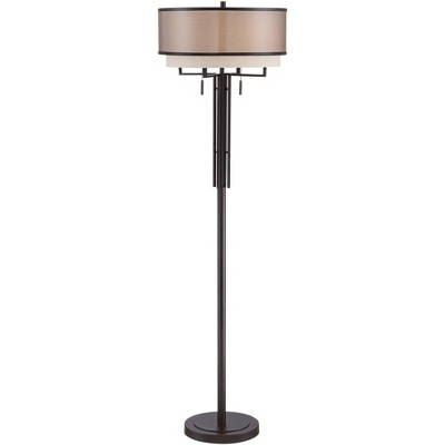 Franklin Iron Works Modern Floor Lamp Industrial Bronze Sheer Brown Organza and Linen Double Drum Shade for Living Room Reading