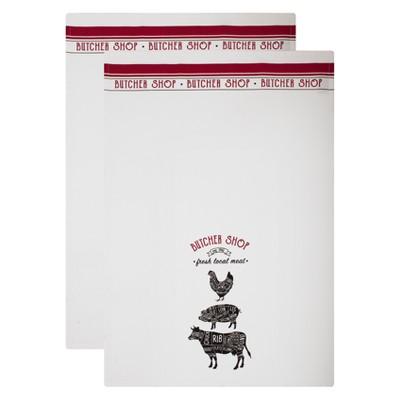 2pk Butcher Shop Kitchen Towel White/Red - MU Kitchen