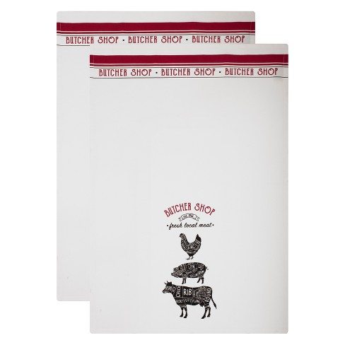 2pk Butcher Shop Kitchen Towel White/Red - Mu Kitchen - image 1 of 3