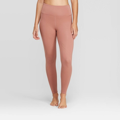 Women's High-Waisted 7/8 Laser Cut Leggings - JoyLab™ Rose - image 1 of 2