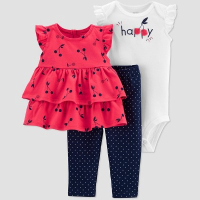 Baby Girls' Cherries Top & Bottom Set - Just One You® made by carter's Red 6M
