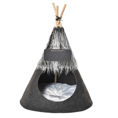 PawHut Pet Teepee Tent Cat Bed Dog House with Thick Cushion Chalkboard for Kitten and Puppy up to 6kg/13lbs 28inch/70cm Grey