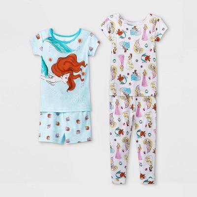 Toddler Girls' 4pc Ariel and Disney Princesses Pajama Set - Blue