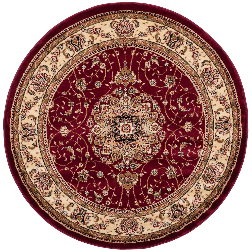 Red/Ivory Floral Loomed Round Area Rug 5'3 - Safavieh