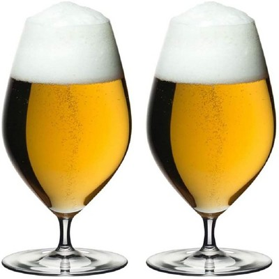Riedel 15.35 Ounce Veritas Beer Cider Clear Crystal Wine Beverage Drink Glass for Light Bodied Beers Set with Unique Tulip Shaped Bowl (2 Pack)