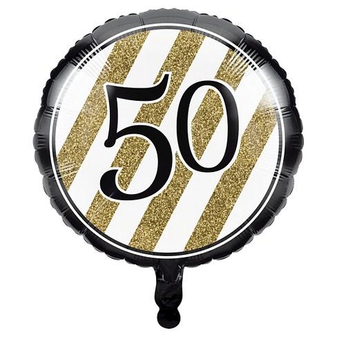Black Gold 50th Birthday Mylar Balloon Target